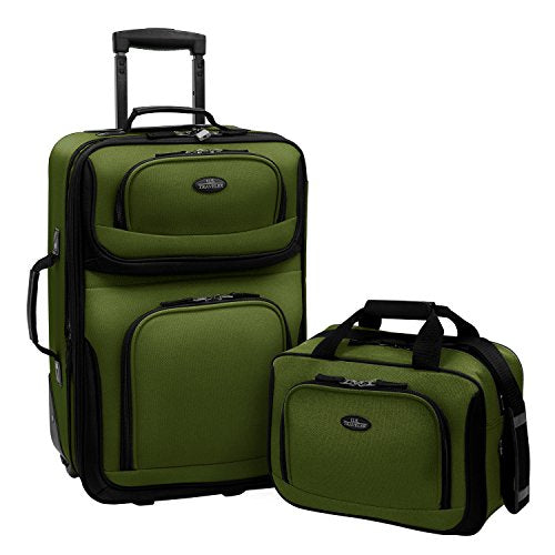 New Rio 2-Piece Carry-On Luggage Set (Green)