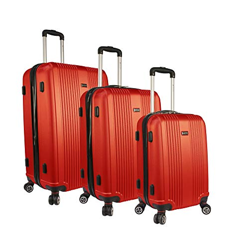 Mancini Santa Barbara Lightweight Spinner Luggage Set in Red