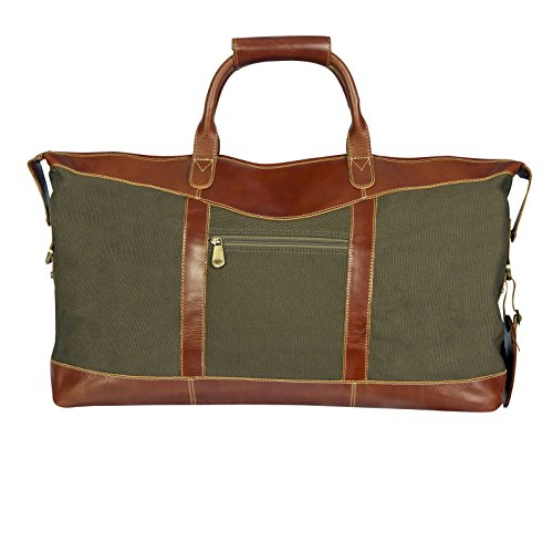 Canyon Outback Pine Canyon 22-Inch Leather and Canvas Duffel Bag, Green, One Size