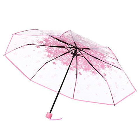 AutumnFall Clear Anti-UV Sun/Rain Umbrella Cherry Sakura 3 Fold Umbrella Handheld (Pink)