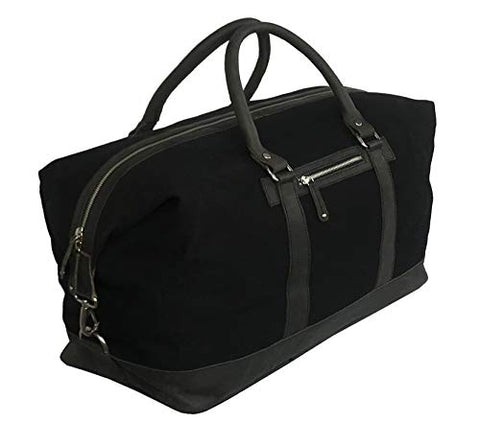 Oversized Canvas Genuine Leather Trim Travel Tote Duffel Shoulder Handbag Weekend Bag
