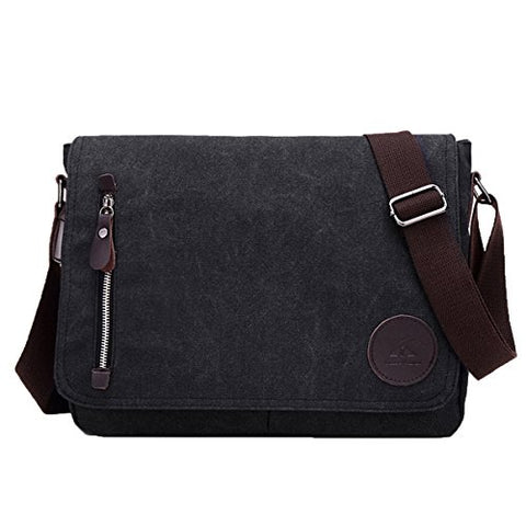 ABage Unisex Messenger Bag Vintage Work College Crossbody Bag Canvas Shoulder Bag, Black