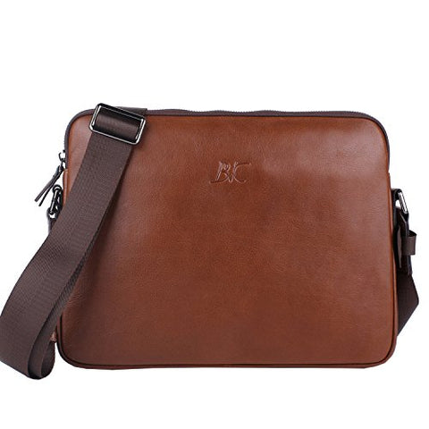 Banuce Brown Small Vintage Full Grains Italian Leather Menssenger Bag for Men Business 9.7 iPad