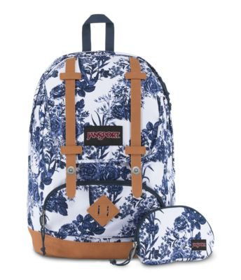 JanSport Baughman Laptop Backback - White Artist Rose