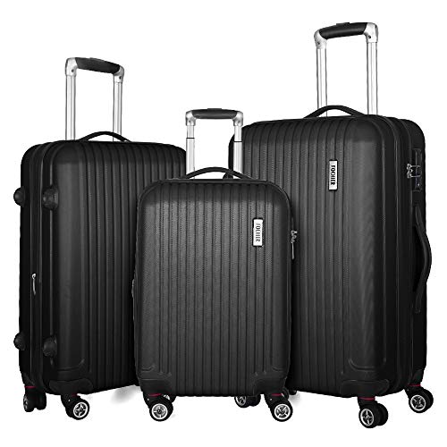 Fochier 3 Piece Luggage Sets Expandable Hard Shell Suitcase 4 Spinner Wheels with TSA Lock Black