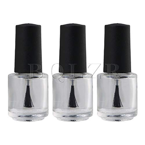 Tool Parts BQLZR Black Transparent 5ml Round Refillable Empty Nail Polish Glass Bottle Tube Vials