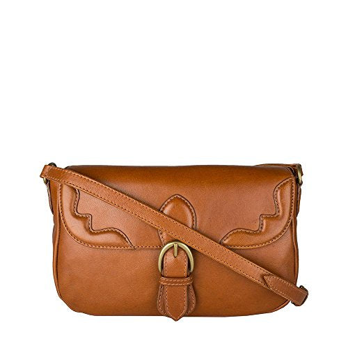 HIDESIGN Women's Hemlock Leather Cross-Body Bag, Tan
