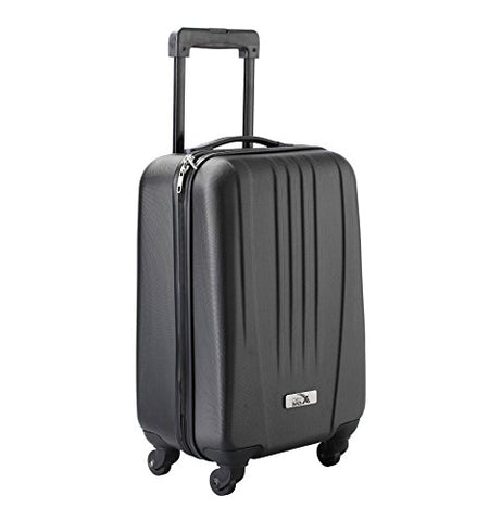 "Cabin Max Silver ABS spinner 4 wheel hard case- Carry on 18"" flight trolley bag (Black)"