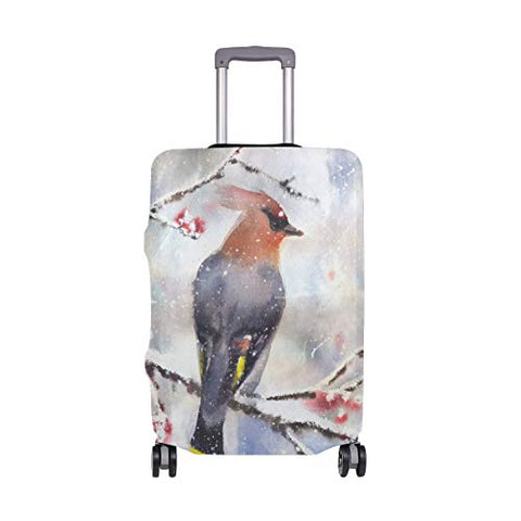 GIOVANIOR Waxwing Sitting On Branch Luggage Cover Suitcase Protector Carry On Covers