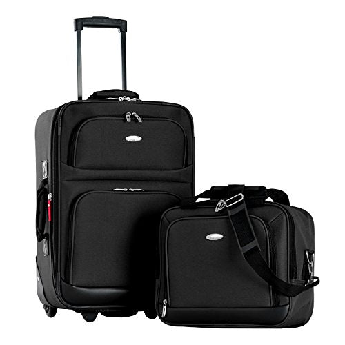 Olympia Let's Travel 2pc Carry-on Luggage Set, Black