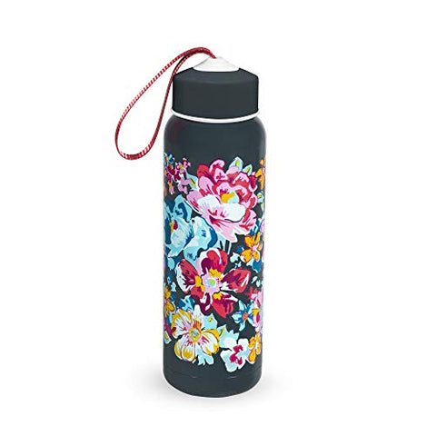 Vera Bradley Stainless Steel Insulated 17 Ounce Water Bottle | Hot or Cold Beverages | Leak-proof Double Walled Sports Bottle Jug for Hiking, Camping, Beach Trips | Twist on Lid | Pretty Posies
