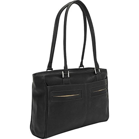 Piel Leather Ladies Laptop Tote with Pockets, Black, One Size