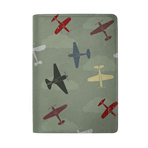 ColourLife Retro War Planes Leather Passport Holder Cover for Men Women Kids
