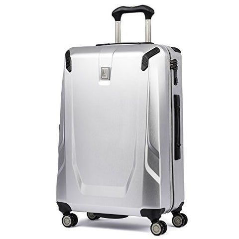 "Travelpro Luggage Crew 11 25"" Polycarbonate Hardside Spinner Suitcase, Silver"