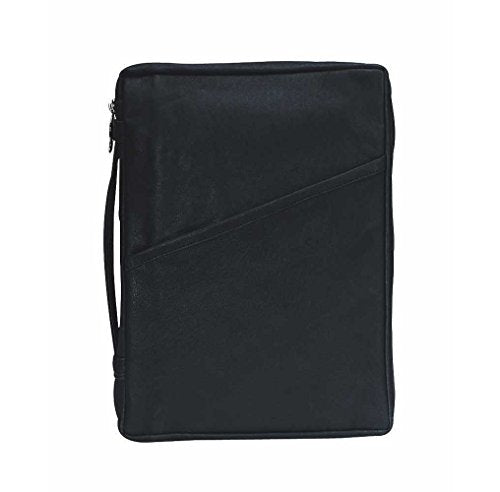 Black Classic 8 x 10.5 inch Leather Bible Cover Case with Handle Large
