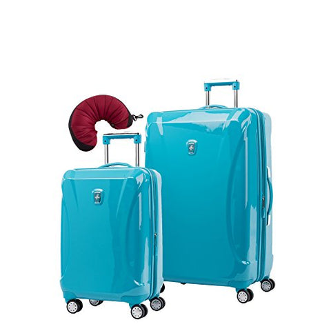 Atlantic Ultra Lite 4 Hardside 21 and 28-Inch Expandable Spinners, Travel Pillow (Turquoise Blue)