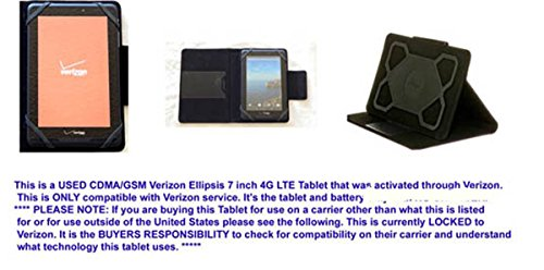 Ellipsis 7 4G LTE USED Tablet By Verizon-LOCKED & M-Edge Universal Stealth USED Travel Case & USB/Wall Charger - Near Mint