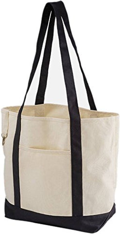 Zuzify Organic Cotton Canvas Boat Tote Bag. Ou1091 Os Natural / Black