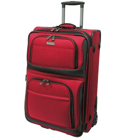 Traveler'S Choice Conventional Ii Lightweight Expandable Rugged Rollaboard Rolling Luggage - Red