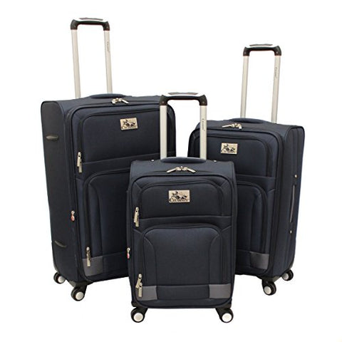 Chariot Genoa 3-Piece Lightweight Upright Spinner Luggage Set, Navy Grey