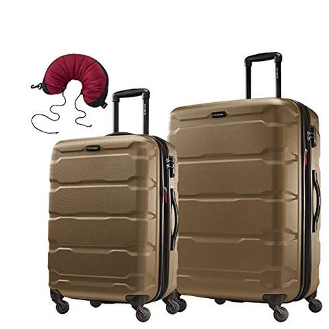 Samsonite Omni PC 2 Piece Bundle 24 and 28 Spinner With Travel Pillow (Bronze)
