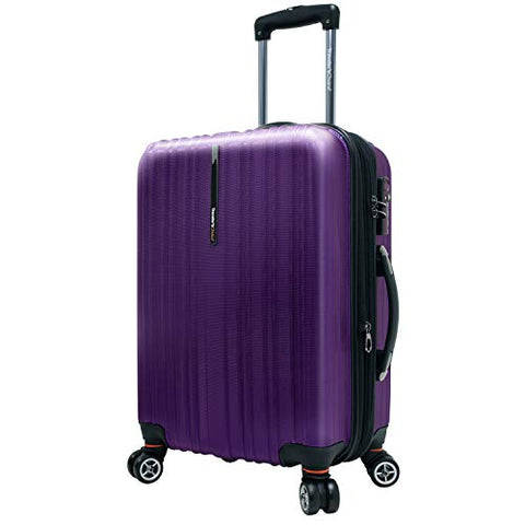 Travelers Choice Tasmania 21 Inch Expandable Spinner Luggage, Purple
