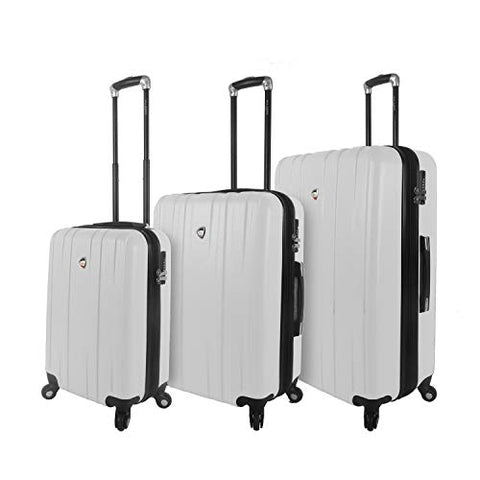 Mia Toro Italy Mantouvani Hardside Spinner Luggage 3pc Set, White
