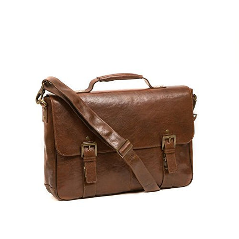 Boconi Becker Flap Dispatch, Leather Business Laptop Briefcase in Whiskey