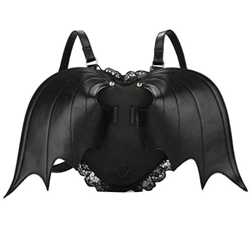 Haolong Womens Girls Black Casual Bat Heart Backpack Wing Gothic Goth Punk Visual Bag