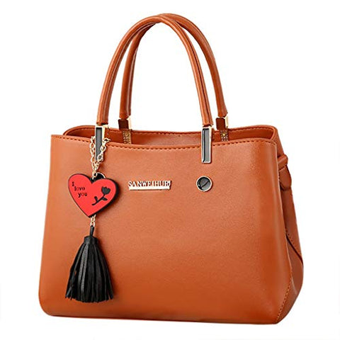 Women's Briefcase PU Leather Crossbody Messenger Zipper Bag Shoulder Satchel Bag Detachable Strap Handbag with Heart tassel Pendant Soft Handle Tote Bag