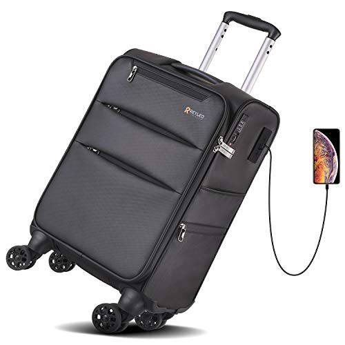 Black REYLEO Expandable Luggage 20 Inch PP Carry on Luggage Travel Suitcase with USB Charging Port Built-in TSA Lock 8 Silent Spinner Wheels Side Handle
