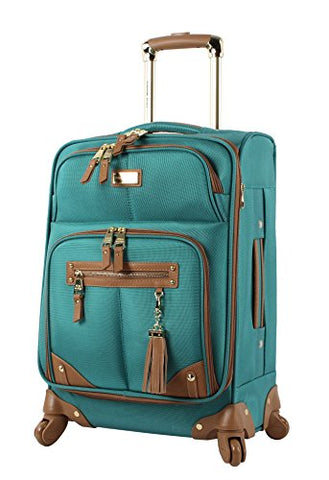 "Steve Madden Luggage 24"" Expandable Softside Suitcase With Spinner Wheels (24In, Harlo Teal Blue)"