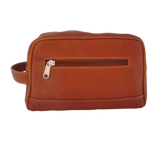 Piel Leather Top Zip Toiletry Kit, Saddle, One Size