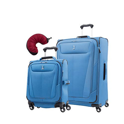 "Travelpro Maxlite 5 | 3-PC Set | Int'l Carry-On & 29"" Exp. Spinners with Travel Pillow (Azure Blue)"