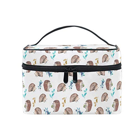 Makeup Bag Cute Hedgehog Fruit Travel Cosmetic Bags Organizer Train Case Toiletry Make Up Pouch