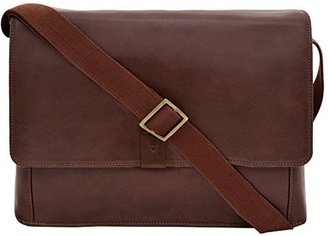 Hidesign Aiden Leather Business Laptop Messenger Cross Body Bag, Brown