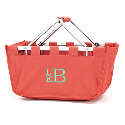 Solid Reusable Shopping Market Tote Basket Craft Sewing Organizer, Coral