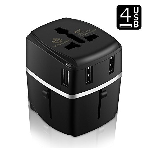 Bonazza Universal International Travel Adapter Kit With 4Amps 4 Usb Ports - Uk, Us, Au, Europe
