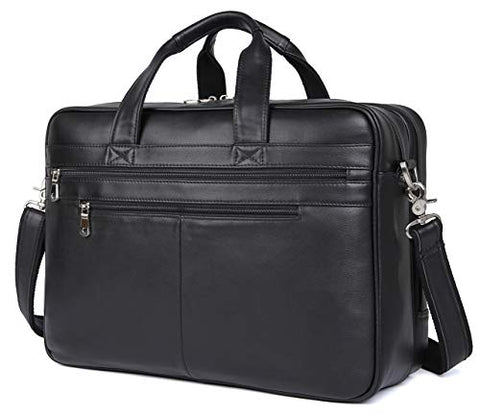 "Polare Real Soft Nappa Leather 17"" Laptop Case Professional Briefcase Business Bag For Men (Black)"