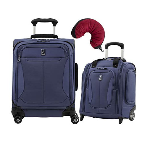Travelpro Tourlite 2-Piece Set: Intl' Carry-On Spinner & Underseat Bag With Travel Pillow (Blue)