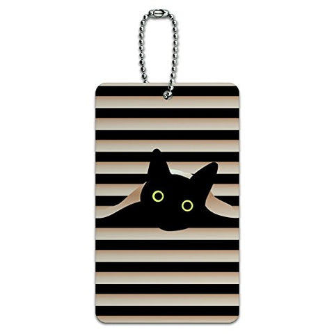 Black Cat In Window Luggage Card Suitcase Carry-On Id Tag