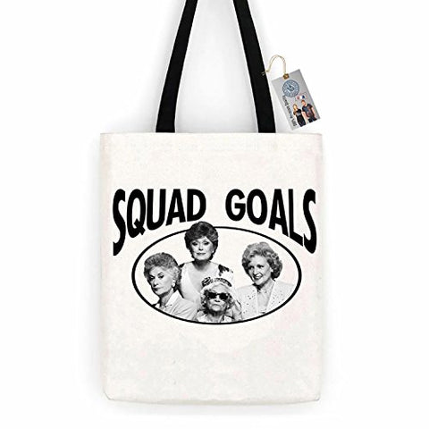 Golden Girls TV Show Squad Goals Cotton Canvas Tote Bag Carry All Day Bag