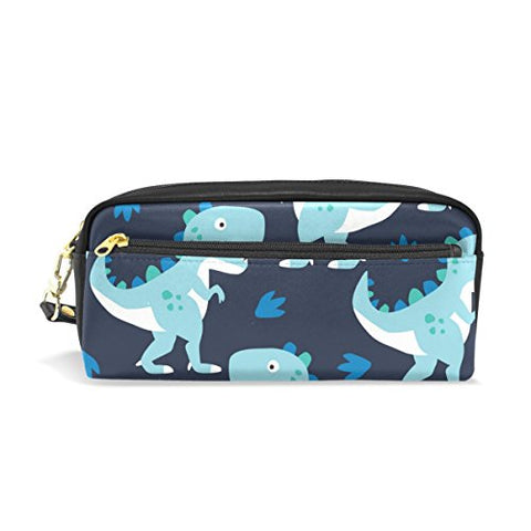 Colourlife Turquoise Dinosaurs Pu Leather Pencil Case Holder Pouch Makeup Bags For Boys Girls