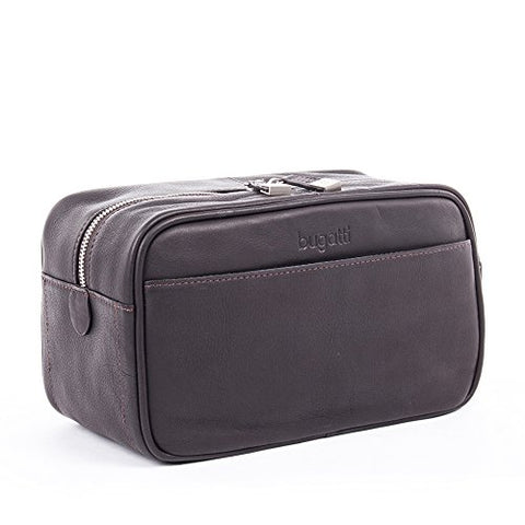 Bugatti Sartoria Top Grain Leather Toiletry Bag, Colombian Leather, Brown