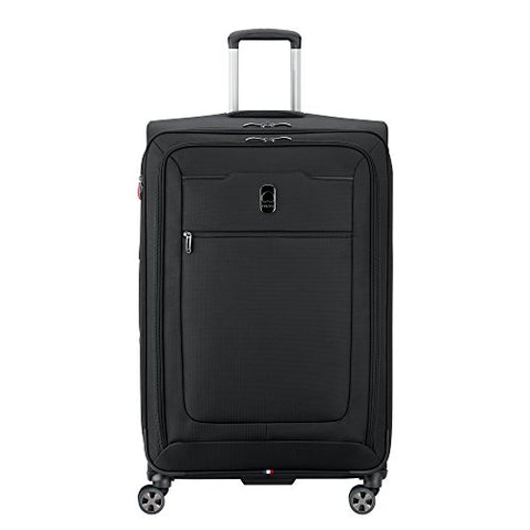 Delsey Luggage Hyperglide Large Checked Luggage Lightweight Spinner Suitcase, Black