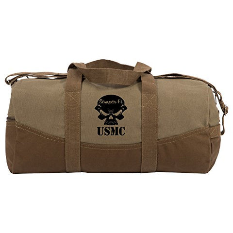 "USMC Semper Fi Skull Marine Corp Two Tone 19"" Duffle Bag with Brown Bottom"