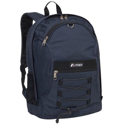 Everest Luggage Two Tone Backpack With Mesh Pockets, Navy, Medium