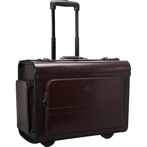 Mancini Wheeled Leather Catalog Case - Burgundy