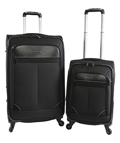 Perry Ellis Men's Tribute Carry on/Check in Spinner Luggage Set, Black