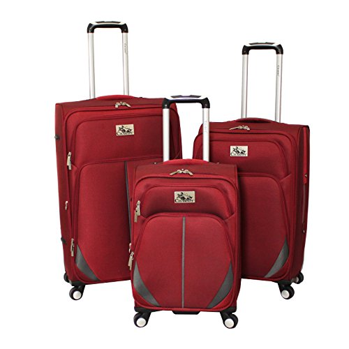 Chariot Imperia 3 Piece Lightweight Upright Spinner Luggage Set, Burgundy, One Size